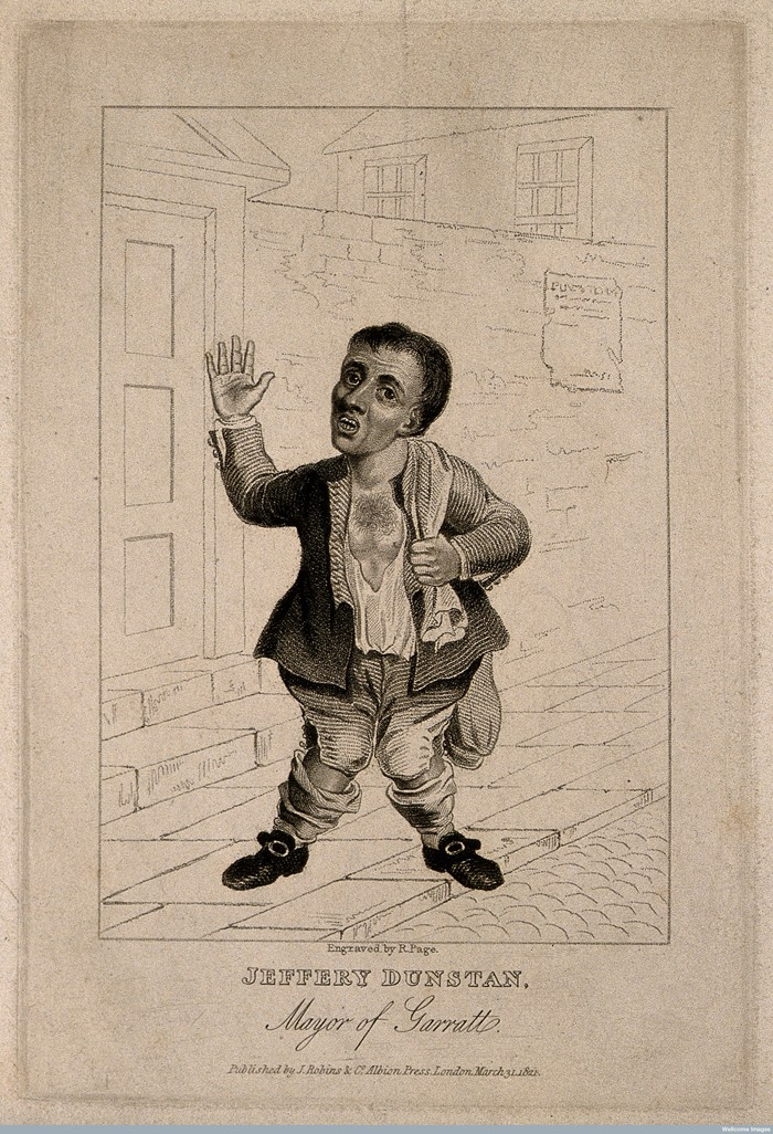 V0007071 Jeffery Dunstan, a deformed eccentric. Stipple engraving by Credit: Wellcome Library, London. Wellcome Images images@wellcome.ac.uk http://wellcomeimages.org Jeffery Dunstan, a deformed eccentric. Stipple engraving by R. Page, 1821. 1821 after: R. PagePublished: 31 March 1821 Copyrighted work available under Creative Commons Attribution only licence CC BY 4.0 http://creativecommons.org/licenses/by/4.0/