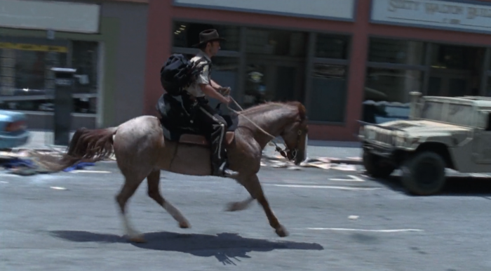 Grimes on horseback during the series premier of The Walking Dead, screenshot by the author