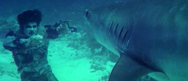 An underwater zombie battles a shark in Zombie, screenshot by the author.