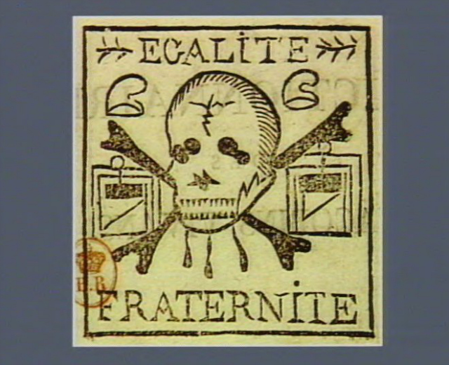 """Stam-with-a-skull-and-guillotines-with-the-words-""""liberty""""-and-""""fraternity""""-1799-via-French-Revolution-Digital-Archive"""