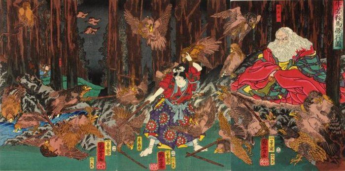Title: Ushiwaka Kurama shugyô zu Description: Ushiwaka Maru practicing fencing among the pine trees of Kuramayama with the tengu under the supervision of their king, Sôjô-bô. The tengu here are completely birdlike