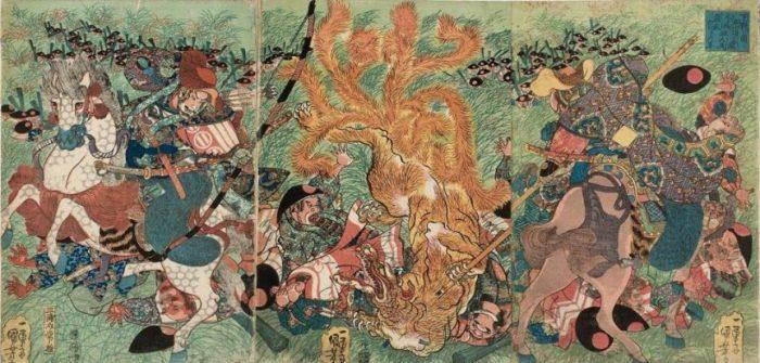 Title: Shimotsuke no kuni Nasu no hara kimmô hakumen kyûbi no akko taiji no zu Description: The Nine-tailed Fox slain on Nasu moor by Miura-no-suke Tsunetane and Kazusa no Suke Hirotsune