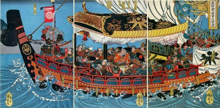 Title: Yoshitsune no jûku-shin Description: Yoshitsune and his nineteen chief retainers in a ship