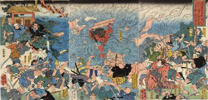 Title: Miyamoto Musashi Shirakura ka dokushu no etc. (宮本無三四白倉毒手…) Description: Miyamoto Musashi bursting out of the bathhouse, to the consternation of Shirakura Gengoemon, his wife, and followers, who had intended to boil him alive there