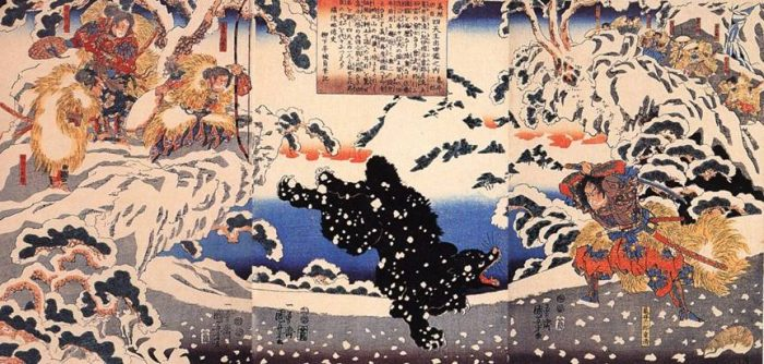 Title: Yoshitsune kôshin: shitennô shusse kagami no uchi: Kamei Rokurô (義経功臣: 四天王出世鑑之内: 亀井六郎) Description: Kamei Rokurô Shigekiyo making his debut as one of Yoshitsune's retainers by fighting a black bear in the snow, watched by Yoshitsune and other retainers