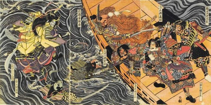 Title: Untitled Description: The ghosts of Tomomori and the other Taira warriors slain at Dan-no-ura attacking Yoshitsune and Benkei in their ship