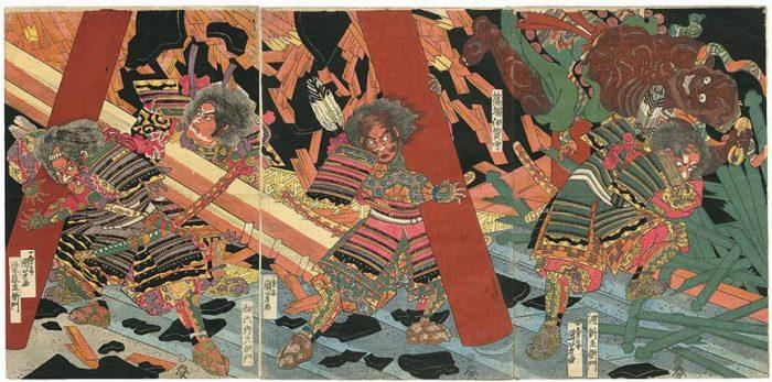 Title: Untitled Description: Kuriu Saemon, Hata Rokurozaemon, Shinozuka Iga no Kami, and Watari Shinzaemon, retainers of Nitta Yoshisada, breaking up a haunted temple