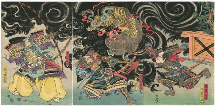 Title: Untitled Description: The Nue, shot down in a swirling black cloud by Gen Sammi Yorimasa (源三位頼政) is about to be dispatched by Ii no Hayata (猪早太廣直). The soldier on the right panel is identified as 渡邉丁七唱. NOTE: The nue (鵺) was a beast with the head of a monkey, the claws of a tiger, the back of a badger and a snake for a tail. It spent its nights on the roof of the Emperor's palace, causing him grave illness until it was slain by I no Hayata Hironao. Usually Minamoto Yorimasa is credited with shooting it down off the roof.