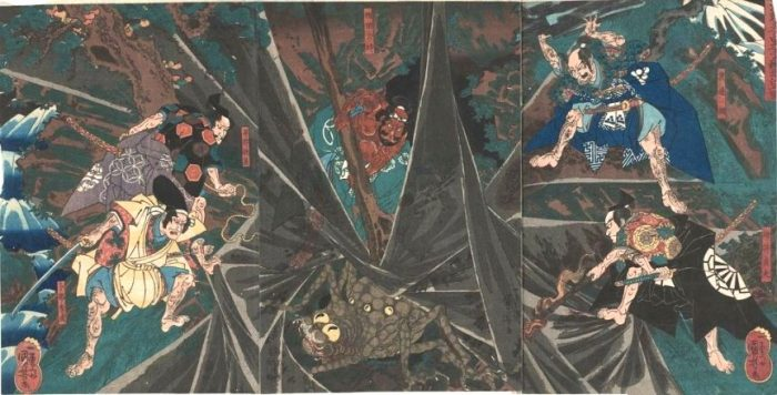 Title: Minamoto no Yorimitsu no Shitennô tsuchigumo taiji no zu Description: Raikô's retainers about to kill the Earth-Spider in the midst of its web