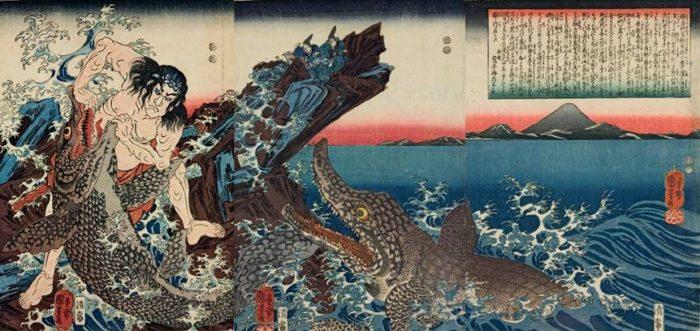 Title: Kamakura Shôgun Yori-ie-kyô Kotsubo-no-hama ni ryôsen to etc. Description: Asahina Saburô Yoshihide struggling with two crocodiles on the seashore, watched by the Shôgun Yori-ie from a rock, with Mt. Fuji in the background