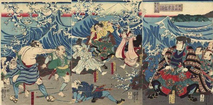 Title: Kataki-uchi kidan Jiraiya monogatari: Sôshû Shichiri-ga-hama etc. Description: Jiraiya and his followers, seated on the shore, watch Amame Isobei catching two miscreants, while Onikubi Kôemon engages the youth Masajirô and the maiden Midori in combat