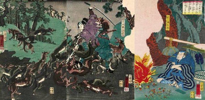 Title: Miyamoto Musashi Sôshû Hakone no sanchû ni ôkami o ooku taiji shite shinmen o kijutsu o arawashite hajimete Sekiguchi ni mamiyu Description: Miyamoto Musashi fighting off a pack of wolves in the Hakone mountains, watched by Sekiguchi Yatarô, seated smoking by a fire (right sheet)
