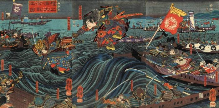 Title: Picture of the Battle of Dan-no-ura (Dan-no-ura ô-kassen no zu, 壇ノ浦大合戦之圖) Description: Yoshitsune's leap at the Battle of Dan-no-ura with Noritsune leaping after him