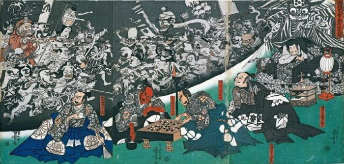 Title: In Minamoto's Residence the Earth Spider Appears as a Monster (Minamoto no Yorimitsu-kô no yakata ni tsuchigumo yôkai o nasu zu, 源頼光公館土蜘作妖怪圖) Description: The Earth Spider (right) conjures up demons at the mansion of Minamoto no Raikô (Minamoto no Yorimitsu) (right), who lies sick in bed. Two of his bodyguards, Watanabe no Tsuna and Sakata no Kintoki, play go (centre), while Urabe no Suetake (right) and Usui no Tadamitsu (left) look towards the procession of spirits in the background