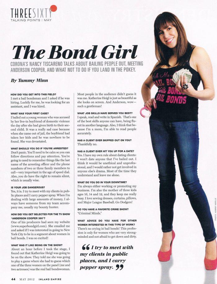Super Bond Girl Bail Bonds, Nancy Tiscareno, Inland Empire Magazine, SBG,