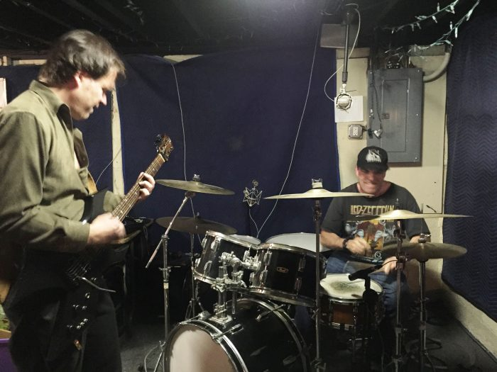 SIEGE songwriting team Kurt Habelt (lead guitar) and Rob Williams (drums/lyrics) in rehearsal in an undisclosed location in Weymouth MA, USA.